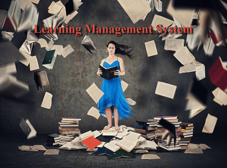 Eine Frau steht im Bücherwirbel. Hier hilft ein Leanring Management System